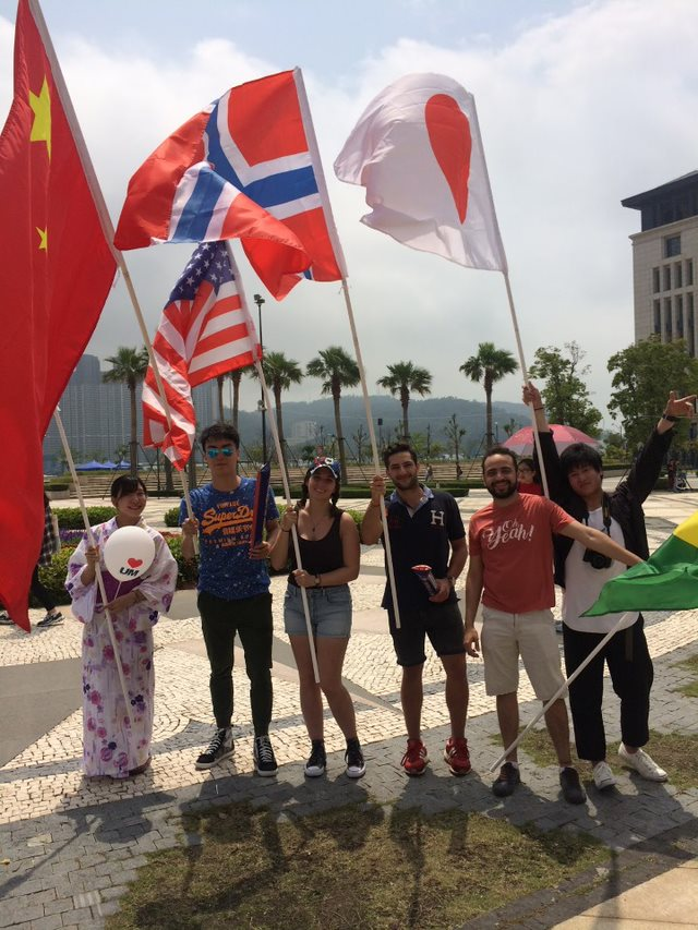 students with flags at macau